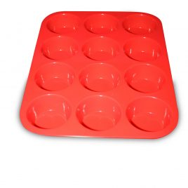 12 Cup Silicone Muffin & Cupcake Baking Pans, Non-Stick, Easy To Clean, Oven